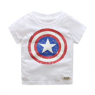 Boy Pure Cotton Summer Fashion Captain America Printing Short Sleeve  T-shirt