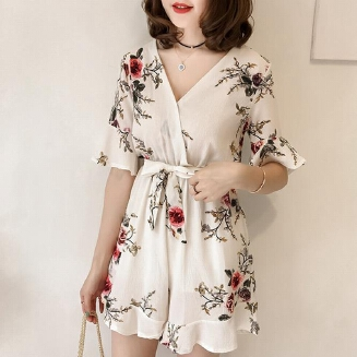 Women Summer Jumpsuits Chiffon Floral Printing Casual Clothes for Beach Vacation