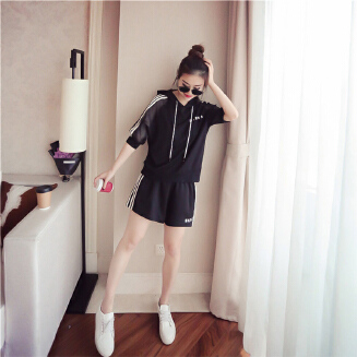 Female Hooded Jackets Suits Casual Medium Sleeves Tops+Pants Sports Clothes