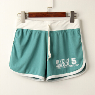 Women Pure Color Letter Printing Candy Color Shorts
