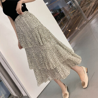 2019 Early Spring New Style High Waist Long over-the-Knee Ruffle Trim Chiffon Skirt Female Irregular a Word Floral Skirt VIC0912 JB0101