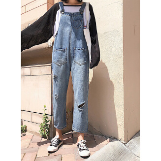Women Ripped Denim Suspender Trousers Jeans Ninth Pants Fashionable Overalls