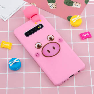 For Samsung S10 plus 3D Cute Coloured Painted Animal TPU Anti-scratch Non-slip Protective Cover Back Case
