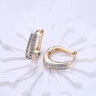 INALIS Women's Stud Earrings Ear Rings Dual Row Zircon Inlaid  Champaign Gold JX0505