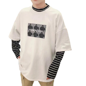 Men's Fake Two-piece Sweater Loose Edition Casual Style Long-sleeved T-shirt Fashion Bottoming Top