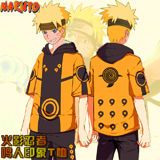 Unisex Fashion Short-sleeved T-shirt Hooded Tops with Naruto Digital 3D Print