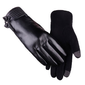 Women Outdoor Windproof Coldproof Breathable Touch Screen Bow Warm Gloves