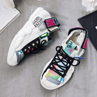 Joker sneakers increase bright women's shoes White