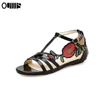 Flat shoes large size embroidery sandals women Black