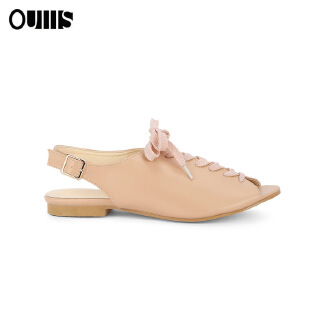 Fish mouth strap flat sandals female Apricot