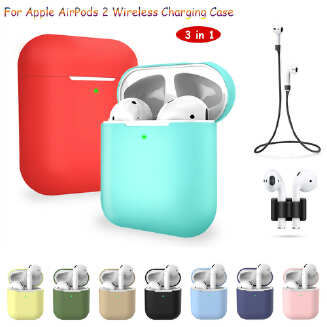 3 pcs/set For Apple AirPods 2 Wireless Charger Protective Silicone Case Cover Accessories