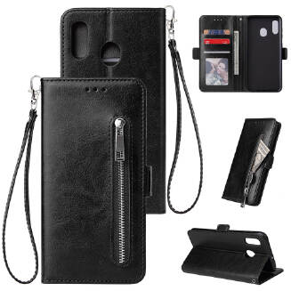 For Samsung A40 Solid Color PU Leather Zipper Wallet Double Buckle Protective Case with Stand & Lanyard