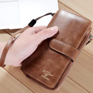 Kangaroo men's trend large-capacity mobile phone bag wallet card package one casual clutch bag business tide package JX1001 001