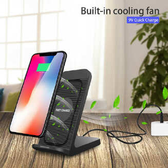 For Samsung Galaxy S10 Plus/e Fan Qi Wireless Charger Dock Fast Charging Stand