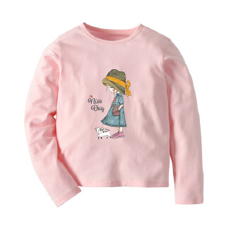 Girls' new solid color long-sleeved T-shirt