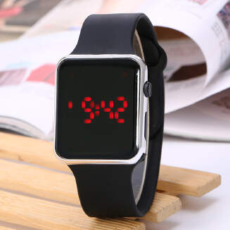 LED Electronic Watch Square Apple Student LCD Silicone Watch Spot JX1129 7553