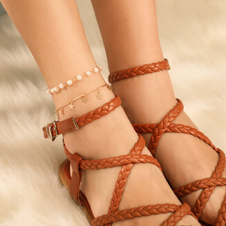 Fashion popular rice beads alloy chain stars 2 sets of anklets