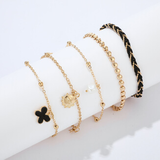 New jewelry fashion popular line woven alloy chain pearl flower 5 layer anklet