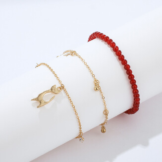 Fashion multi-layer five-pointed star foot animal shape cat accessories handmade beaded anklet