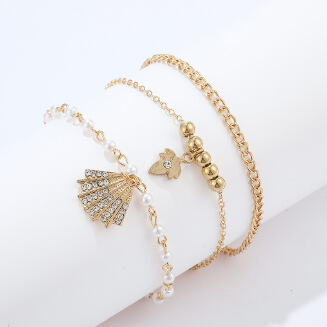 Fashion Jewelry Gold Shell Leaf Rhinestone Pearl Gold Bead Bracelet Bracelet 3 Piece Set