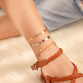 New accessories fashion fashion alloy round chain love five-pointed star pendant multi-layer anklet