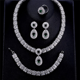 FEEHOW New suit bridal jewelry earrings necklace four-piece set 3A zircon set chain RB1130 FSSP312