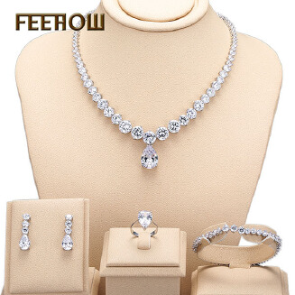 FEEHOW Round Water Drop Accessories 3A Zircon Bridal Earring Necklace Jewelry Set Dinner Jewellery Four Set RB1130 FSSP244