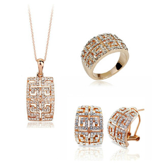 3-piece crystal earrings necklace ring JX0505 1273
