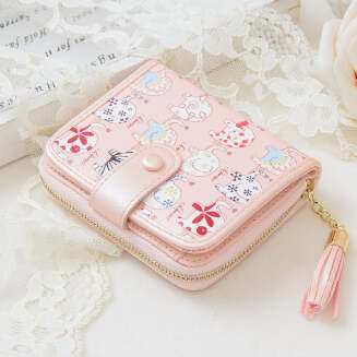 Simple and cute two-fold zipper vertical pocket change clip buckle short wallet JX1001 019
