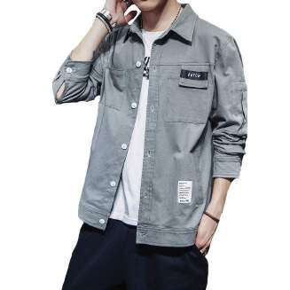 Men's Long Sleeve Casual Shirt Cotton Slim Fit Tooling Teenage student shirt