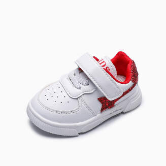 Children's white shoes five-pointed star shoes-Red