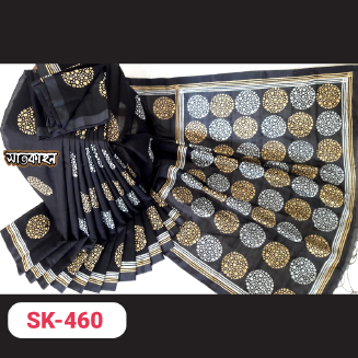 Cotton with Block Print Sharee D04995